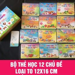 Thẻ Học 12 Chủ Đề in 2 Mặt Loại To - Thẻ học song ngữ Anh Việt