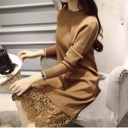 Váy đầm len nữ phối ren cho mùa thu thêm xinh