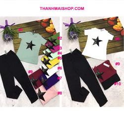 QA202 - Bộ áo tay ngắn ngôi sao + quần dài thun cotton mềm mịn