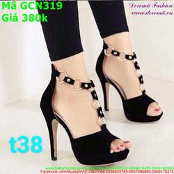 Giày cao gót nữ hở mũi thiết kế dây xích thời trang