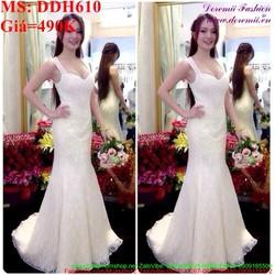 Đầm cô dâu 2 dây cúp ngực thời trang và sang trọng