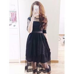 Đầm dự tiệc ren đen huyền bí
