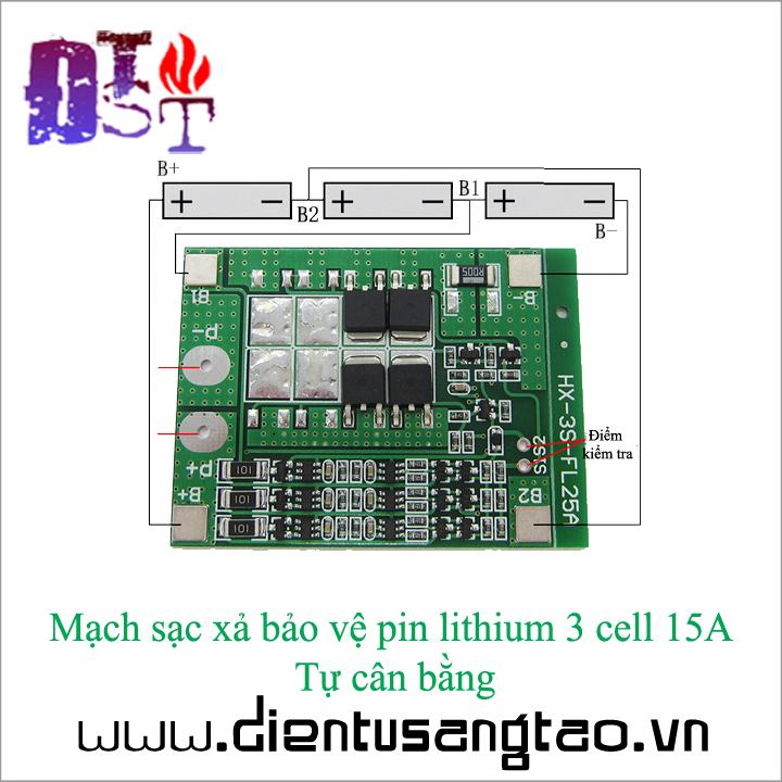 Mạch sạc xả bảo vệ pin lithium 3 cell 15A Tự cân bằng 2