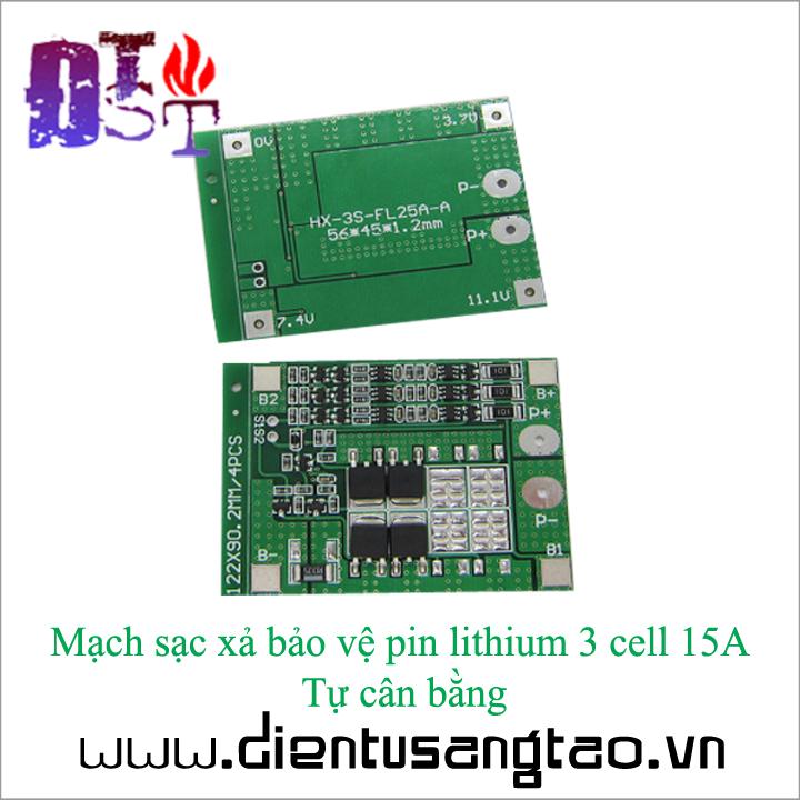 Mạch sạc xả bảo vệ pin lithium 3 cell 15A Tự cân bằng 1