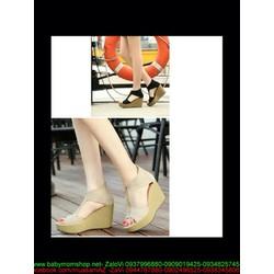 Giày cao gót nữ thiết kế mới hở mũi khoét 2 bên kiểu đế xuồng
