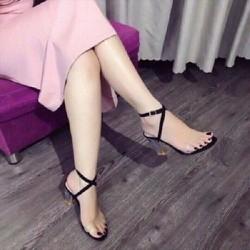 Giày cao gót trong 7p quai trong dây khóa chéo cao cấp