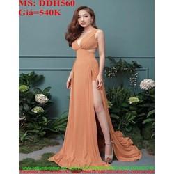 Đầm dạ hội xẻ cổ V và xẻ đùi quyến rũ thời trang