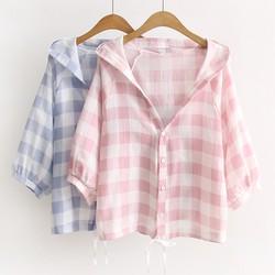 Hàng thiết kế áo khoác form ngắn chuẩn kẻ ô xanh, hồng