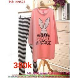 Sét đồ bộ mặc nhà nữ thun hình chú thỏ dễ thương NN523