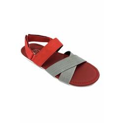 Giày sandal nam màu đỏ phối xám 3 quai chéo thời trang