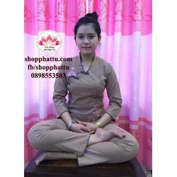 Bộ đồ lam đi chùa - quần áo Phật tử cao cấp