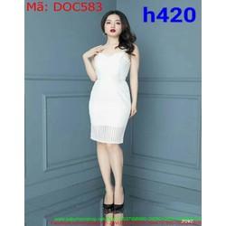 Đầm ôm dự tiệc 2 dây màu trắng chất liệu ren cao cấp