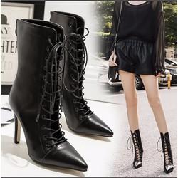Giày boot cao gót chiến binh cột dây BCG01