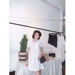 Đầm suông sơ mi trắng