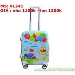 Vali kéo du lich nhựa hình gấu pooh dễ thương VL241