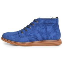 Giày cao cổ da lộn màu xanh 6068