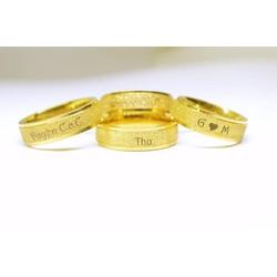 Nhẫn Titan full đá vàng khắc tên bằng laze theo yêu cầu