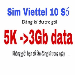Sim 4G Viettel Gói MT5C đăng kí 5K 3GB