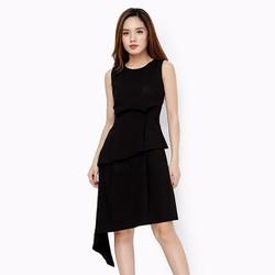 Đầm thời trang nữ phối bèo thanh lịch màu đen