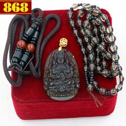 Vòng cổ mặt Phật Thiên Thủ Thiên Nhãn đá thạch anh khói - hộp nhung