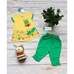 Quần áo trẻ em _ bộ lửng bé gái in hình con ong