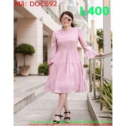 Đầm công sở dài tay loe màu hồng dễ thương