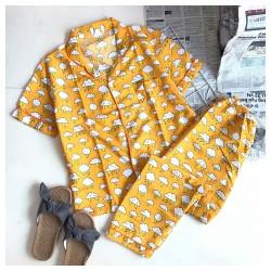 Set pyjama quần dài tay ngắn