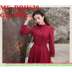 Đầm dự tiệc vintage màu đỏ sang trọng và quý phái