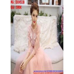 Đầm maxi dự tiệc hồng dễ thương lưới phối bông xinh đẹp