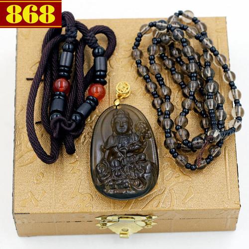 Dây chuyền bồ tát phổ hiền 5cm - đá obsidian
