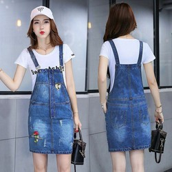 Đầm Jean Yếm Thêu Hoa Hồng