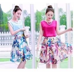 Set Váy hoa xòe và áo satin sát nách - BY8021