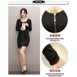 GIẢM SỐC 3 NGÀY VÀNG - Đầm len body dài tay kéo khóa trước