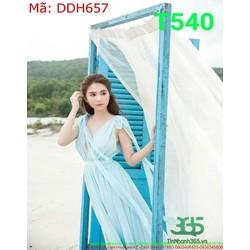 Đầm maxi dài thiết kế cổ V khoét sâu màu xanh trẻ trung