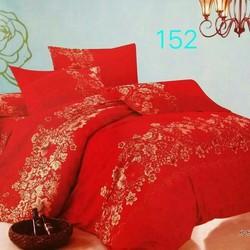Bộ 4 món ga giường, vỏ chăn, 2 vỏ gối màu đỏ hoa văn