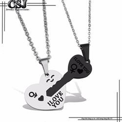 Dây chuyền inox cặp đôi trái tim chìa khóa đen cao cấp đẹp ý nghĩa