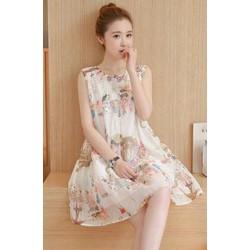 Đầm suông trắng sát nách in họa tiết siêu cute - T0210