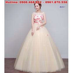 váy cưới cho cô dâu bụng bầu xinh xắn B003