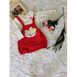 Đầm mèo đỏ chấm bi