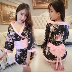 Áo choàng ngủ sexy Kimono kèm quần chip họa tiết