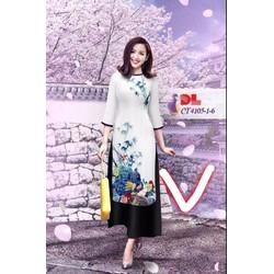 Sét áo dài in hoạ tiết quần ống rộng TVAD141