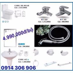 Combo trọn bộ thiết bị phòng tắm hàng chính hãng công ty Minh Long