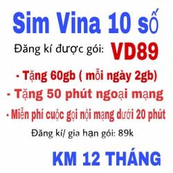 SIM 4G Vinaphone Gold VD89 Tặng 62GB Tháng Gọi Miễn Phí 43.000 Phút