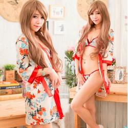 Áo choàng ngủ kimono hoa cúc kèm áo chip và quần
