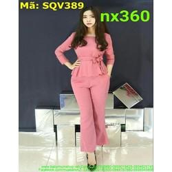 Sét áo kiểu dài tay tùng xòe thắt nơ phối quần dài thời trang SQV389