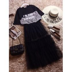 CHỈ CÒN TRẮNG Set đầm suông in chữ im ready và chân váy voan lưới