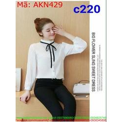 Áo kiểu nữ dài tay dập ly cổ trụ phối dây thắt nơ xinh đẹp AKN429