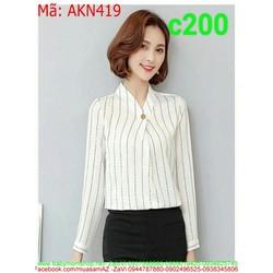 Áo sơ mi nữ kiểu dài tay phong cách công sở thời trang AKN419