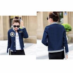áo khoác jean nữ đắp logo sang chảnh