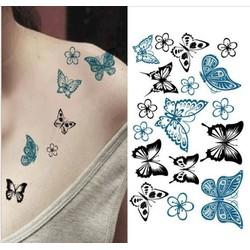 Hình Xăm Dán Tattoo Đàn Bướm